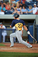 Burlington Bees designated hitter Brendon Sanger (23) at bat during a game against the West Michigan Whitecaps on July 25, 2016 at Fifth Third Ballpark in Grand Rapids, Michigan.  West Michigan defeated Burlington 4-3.  (Mike Janes/Four Seam Images)