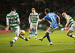 Celtic v St Johnstone…25.01.17     SPFL    Celtic Park<br />Danny Swanson's shot is blocked by Cristian Gamboa<br />Picture by Graeme Hart.<br />Copyright Perthshire Picture Agency<br />Tel: 01738 623350  Mobile: 07990 594431