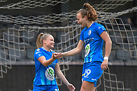 Imani Prez (11 of Gent) just scored the opening goal after a few minutes  pictured during a female soccer game between Eendracht Aalst and AA Gent Ladies on the 10 th matchday of the 2020 - 2021 season of Belgian Scooore Womens Super League , Saturday 19 th of December 2020  in Aalst , Belgium . PHOTO SPORTPIX.BE | SPP | DIRK VUYLSTEKE