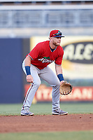 Fort Myers Miracle second baseman Travis Blankenhorn (7) during a game against the Tampa Tarpons on May 2, 2018 at George M. Steinbrenner Field in Tampa, Florida.  Fort Myers defeated Tampa 5-0.  (Mike Janes/Four Seam Images)
