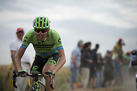 Daniel Martin (IRL/Cannondale-Garmin) on the cobbled sector of Artres (1200m)<br /> <br /> stage 4: Seraing (BEL) - Cambrai (FR) <br /> 2015 Tour de France