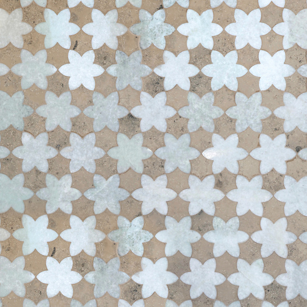 Cadiz, a waterjet stone mosaic, shown in polished Ming Green and honed Jura Grey, is part of the Miraflores Collection by Paul Schatz for New Ravenna.<br /> <br /> For pricing samples and design help, click here: http://www.newravenna.com/showrooms/