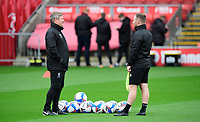 Lincoln City's assistant manager David Kerslake, left, and Lincoln City's first team development coach Richard O'Donnell during the pre-match warm-up<br /> <br /> Photographer Chris Vaughan/CameraSport<br /> <br /> The EFL Sky Bet League One - Fleetwood Town v Lincoln City - Saturday 17th October 2020 - Highbury Stadium - Fleetwood<br /> <br /> World Copyright © 2020 CameraSport. All rights reserved. 43 Linden Ave. Countesthorpe. Leicester. England. LE8 5PG - Tel: +44 (0) 116 277 4147 - admin@camerasport.com - www.camerasport.com