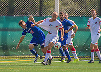 5 September 2014: University of Massachusetts River Hawks Midfielder Dalton Richards (18), a Junior from North Grafton, MA, battles St. Francis College Terrier Adrian Cosovic, a Freshman from Staten Island, NY, at Virtue Field in Burlington, Vermont. The River Hawks defeated the Terriers 3-1, on their way to finishing the Morgan Stanley Smith Barney Windjammer Classic Men's Soccer Tournament with a 2-0 record, and being crowned as tournament champions on goal differential. Mandatory Credit: Ed Wolfstein Photo *** RAW (NEF) Image File Available ***