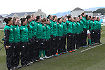 The Ireland team line up for the anthems.<br /> 6 Nations Championship<br /> Wales v Ireland Women<br /> St Helens Swansea<br /> 15.03.15<br /> ©Steve Pope - SPORTINGWALES