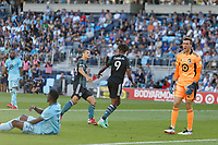 ST PAUL, MN - AUGUST 14: Kevin Cabral #9 of the Los Angeles Galaxy goes to celebrate his goal during a game between Los Angeles Galaxy and Minnesota United FC at Allianz Field on August 14, 2021 in St Paul, Minnesota.