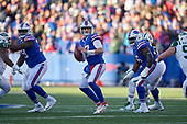 Buffalo Bills quarterback Josh Allen (17) looks to pass during an NFL football game against the New York Jets, Sunday, December 9, 2018, in Orchard Park, N.Y.  (Mike Janes Photography)