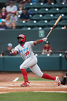 D.J. Stewart (39) of the Jersey Shore BlueClaws follows through on his swing against the Winston-Salem Dash at Truist Stadium on July 20, 2021 in Winston-Salem, North Carolina. (Brian Westerholt/Four Seam Images)