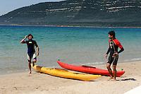 Strand an Bucht Porto Conte bei  Alghero, Provinz Sassari, Nord - Sardinien, Italien