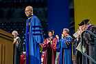 July 10, 2021; Commencement speaker Darrell Bradford, president of 50CAN acknowledges the applause after his address during the 2021 Commencement Ceremony of the University of Notre Dame's Alliance for Catholic Education (ACE) in the Purcell Pavilion of the Joyce Center. (Photo by Barbara Johnston/University of Notre Dame)