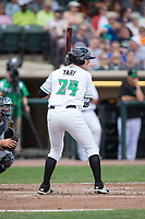 Bruce Yari (24) of the Dayton Dragons at bat against the West Michigan Whitecaps at Fifth Third Field on May 29, 2017 in Dayton, Ohio.  The Dragons defeated the Whitecaps 4-2.  (Brian Westerholt/Four Seam Images)