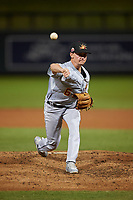 Mesa Solar Sox relief pitcher Austin Warren (6), of the Los Angeles Angels organization, during an Arizona Fall League game against the Salt River Rafters on September 19, 2019 at Salt River Fields at Talking Stick in Scottsdale, Arizona. Salt River defeated Mesa 4-1. (Zachary Lucy/Four Seam Images)