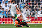 James Rodriguez (top) of Real Madrid gets tripped by Daniel Parejo Munoz of Valencia CF during their La Liga match between Real Madrid and Valencia CF at the Santiago Bernabeu Stadium on 29 April 2017 in Madrid, Spain. Photo by Diego Gonzalez Souto / Power Sport Images
