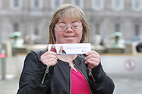 2No Fee Photos 21/03/14 Cathy Soden from Dublin pictured at World Down Syndrome Day ,The National Advisory Council who are adults with Down syndrome are going to be delivering their manifesto to a bunch of TD's and MEPs and handing out fliers etc.Pictured at Leinster house,Co Dublin this afternoon… Pic Collins Photos