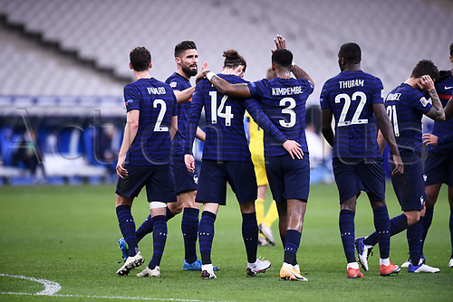 17th November 2020; Stade de France, Paris,  France; UEFA National League international football, France versus Sweden;   OLIVIER GIROUD (FRA) celebrates his goal for 1-1 in the 16th minute