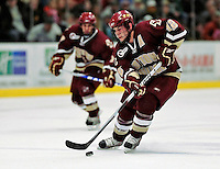 18 October 2009: Boston College Eagle forward Ben Smith, a Senior from Avon, CT, in action against the University of Vermont Catamounts at Gutterson Fieldhouse in Burlington, Vermont. The Catamounts defeated the visiting Eagles 4-1. Mandatory Credit: Ed Wolfstein Photo