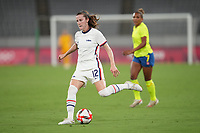 TOKYO, JAPAN - JULY 20: Tierna Davidson #12 of the United States passes off the ball during a game between Sweden and USWNT at Tokyo Stadium on July 20, 2021 in Tokyo, Japan.