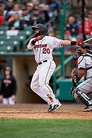 Rochester Red Wings Wilin Rosario (20) at bat during an International League game against the Charlotte Knights on June 16, 2019 at Frontier Field in Rochester, New York.  Rochester defeated Charlotte 3-2 in the second game of a doubleheader.  (Mike Janes/Four Seam Images)