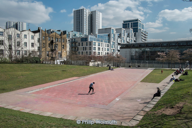 Publlic open space and new private residential developments, Swiss Cottage, Camden, London.