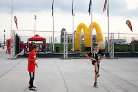 Kids kick a ball around at the McDonald's fan zone. The men's national teams of the United States (USA) and Colombia (COL) played to a 0-0 tie during an international friendly at PPL Park in Chester, PA, on October 12, 2010.