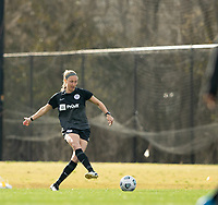 LOUISVILLE, KY - MARCH 13: Brooke Hendrix #15 of Racing Louisville FC passes the ball up the field during a game between West Virginia University and Racing Louisville FC at Thurman Hutchins Park on March 13, 2021 in Louisville, Kentucky.