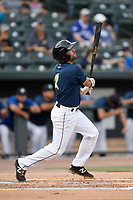 Designated hitter J.J. Franco (2) of the Columbia Fireflies bats in a game against the Charleston RiverDogs on Monday, August 7, 2017, at Spirit Communications Park in Columbia, South Carolina. Columbia won, 6-4. (Tom Priddy/Four Seam Images)