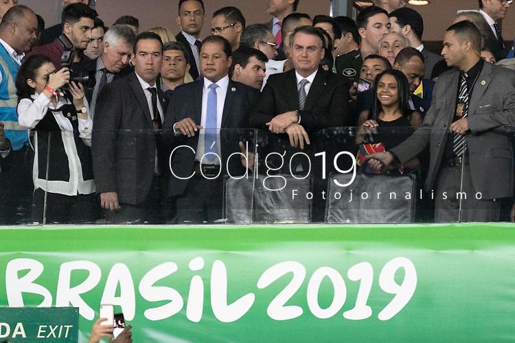 BELO HORIZONTE, MG, 02.07.2019-COPA AMÉRICA 2019 - BRASIL - Presidente Jair Bolsonaro durante Partida entre Brasil e Argentina, válida pelas semifinais da Copa América 2019, no Estádio Mineirão em Belo Horizonte, MG, na noite desta terça-feira (02). (Foto: Giazi Cavalcante/Código19)