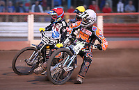 Heat 14: Ricky Wells (white), Lewis Bridger (red) and Tom Perry (yellow) - Lakeside Hammers vs Wolverhampton Wolves, Elite League Speedway at the Arena Essex Raceway, Pufleet - 04/07/14 - MANDATORY CREDIT: Rob Newell/TGSPHOTO - Self billing applies where appropriate - 0845 094 6026 - contact@tgsphoto.co.uk - NO UNPAID USE