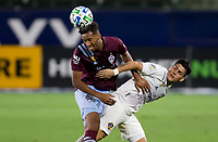 CARSON, CA - SEPTEMBER 19: Jonathan Lewis #7 of the Colorado Rapids and Cristian Pavon #10 battle for the ball during a game between Colorado Rapids and Los Angeles Galaxy at Dignity Heath Sports Park on September 19, 2020 in Carson, California.