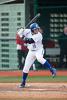 Sal Annunziata (11) of the Seton Hall Pirates at bat against the Cornell Big Red at The Ripken Experience on February 27, 2015 in Myrtle Beach, South Carolina.  The Pirates defeated the Big Red 3-0.  (Brian Westerholt/Four Seam Images)