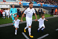 Angel Rangel of Swansea Legends exits the tunnel during the Alan Tate Testimonial Match, Swansea City Legends v Manchester United Legends at the Liberty Stadium, Swansea, Wales, UK