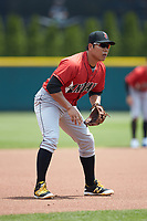Indianapolis Indians third baseman Jung Ho Kang (27) on defense against the Columbus Clippers at Huntington Park on June 17, 2018 in Columbus, Ohio. The Indians defeated the Clippers 6-3.  (Brian Westerholt/Four Seam Images)