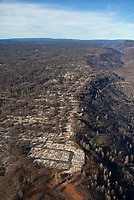 aerial photograph of the aftermath of the  2018 Camp Fire, Paradise, Butte County, California