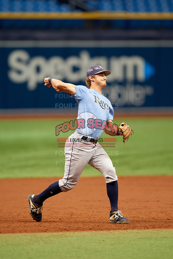Ford Proctor (4) throws to first base during the Tampa Bay Rays Instructional League Intrasquad World Series game on October 3, 2018 at the Tropicana Field in St. Petersburg, Florida.  (Mike Janes/Four Seam Images)