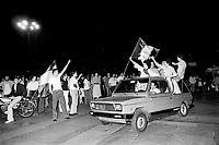 - festeggiamenti per una vittoria della squadra nazionale di calcio italiana durante il campionato del mondo del 1978....- celebrations for a victory of Italian soccer national  team during world championship of 1978