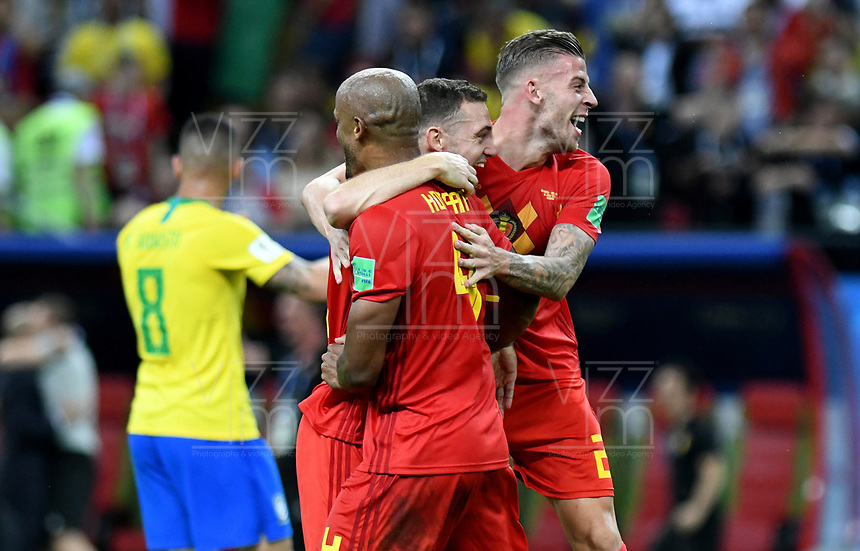 KAZAN - RUSIA, 06-07-2018: Vincent KOMPANY, Thomas VERMAELEN, Toby ALDERWEIRELD, jugadores de Bélgica celebran después del partido de cuartos de final entre Brasil y Bélgica por la Copa Mundial de la FIFA Rusia 2018 jugado en el estadio Kazan Arena en Kazán, Rusia. / Vincent KOMPANY, Thomas VERMAELEN, Toby ALDERWEIRELD, players of Belgium celebrate after the match between Brazil and Belgium of quarter final for the FIFA World Cup Russia 2018 played at Kazan Arena stadium in Kazan, Russia. Photo: VizzorImage / Julian Medina / Cont