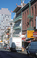 San Francisco:  Chinatown. Looking down (east on) Clay from Grant St.  Photo '89.