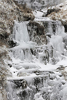 WEATHER PICTURE WALES<br /> Pictured: A frozen over waterfall by the A4059 between Penderyn and Storey Arms, Brecon Beacons in south Wales, UK. Friday 02 March 2018<br /> Re: Beast from the East and Storm Emma has been affecting most parts of the UK.