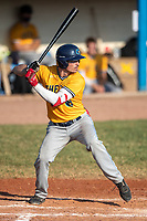 Shea Kramer (5) of the Kalamazoo Growlers at bat against the Battle Creek Bombers during Northwoods League action at Homer Stryker Field on July 2nd, 2020 in Kalamazoo, Michigan. Kramer plays college baseball at University of Utah. The Bombers defeated the Growlers 4-1. (Andrew Woolley/Four Seam Images)