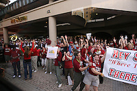 8 April 2008: Stanford Cardinal fans send off the team in front of the Westin Harbour Island hotel before playing against the Tennessee Lady Volunteers in the 2008 NCAA Division I Women's Basketball Final Four championship game at the St. Pete Times Forum Arena in Tampa Bay, FL.