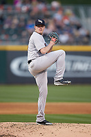Scranton/Wilkes-Barre RailRiders starting pitcher Josh Rogers (13) in action against the Charlotte Knights at BB&T BallPark on April 12, 2018 in Charlotte, North Carolina.  The RailRiders defeated the Knights 11-1.  (Brian Westerholt/Four Seam Images)