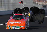 Feb. 16, 2013; Pomona, CA, USA; NHRA funny car driver Johnny Gray during qualifying for the Winternationals at Auto Club Raceway at Pomona.. Mandatory Credit: Mark J. Rebilas-