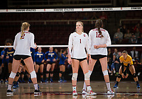 STANFORD, CA - December 1, 2017: Kathryn Plummer, Jenna Gray, Audriana Fitzmorris at Maples Pavilion. The Stanford Cardinal defeated the CSU Bakersfield Roadrunners 3-0 in the first round of the NCAA tournament.