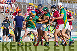Paudie O'Connor and Seanie Nolan, Kilmoyley in action against Bryan Murphy , Causeway during the Kerry County Senior Hurling Championship Final match between Kilmoyley and Causeway at Austin Stack Park in Tralee