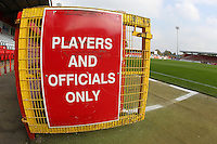 General view of the entrance to the pitch during Stevenage vs Carlisle United, Sky Bet League 2 Football at the Lamex Stadium, Stevenage, England on 03/10/2015