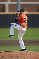 Campbell Camels relief pitcher Logan Heintzman (31) in action against the Dayton Flyers at Jim Perry Stadium on February 28, 2021 in Buies Creek, North Carolina. The Camels defeated the Flyers 11-2. (Brian Westerholt/Four Seam Images)