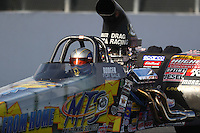 Feb 9, 2017; Pomona, CA, USA; NHRA top dragster driver Rodger Comstock during qualifying for the Winternationals at Auto Club Raceway at Pomona. Mandatory Credit: Mark J. Rebilas-USA TODAY Sports