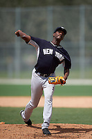 GCL Yankees 2 pitcher Gean Batista (92) delivers a pitch during the first game of a doubleheader against the GCL Pirates on July 31, 2015 at the Pirate City in Bradenton, Florida.  GCL Pirates defeated the GCL Yankees 2 2-1.  (Mike Janes/Four Seam Images)