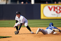 New York Yankees shortstop Kyle Holder (76) waits for a throw as Anthony Alford (30) slides in during a Spring Training game against the Toronto Blue Jays on February 22, 2020 at the George M. Steinbrenner Field in Tampa, Florida.  (Mike Janes/Four Seam Images)
