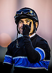Corey Nakatani after winning the Cash Call Futurity aboard Shared Belief on December 14, 2013 at Betfair Hollywood Park in Inglewood, California .(Alex Evers/ Eclipse Sportswire)